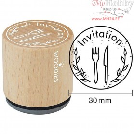 Wooden Stamp, D: 30 mm, H: 35 mm, Invitation, 1pc
