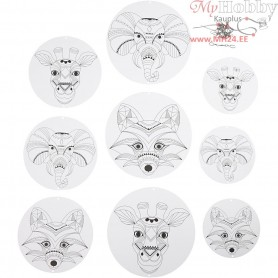 Mobile With Motifs, wild animals, D: 12+15+18 cm,  300 g, white, 9pcs