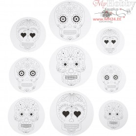 Mobile With Motifs, skulls, D: 12+15+18 cm,  300 g, white, 9pcs