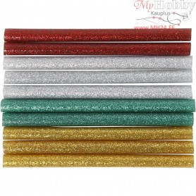 Glue Gun Sticks, D: 7 mm, L: 10 cm, green, gold, silver, red, 10pcs