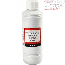 Decoupage Varnish, silver, glitter, 250ml