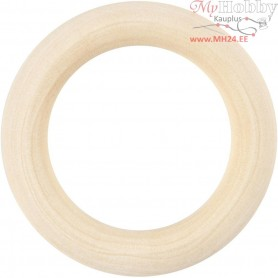 Curtain Ring, D: 55 mm, inner size 40 mm, grass wood, 6pcs