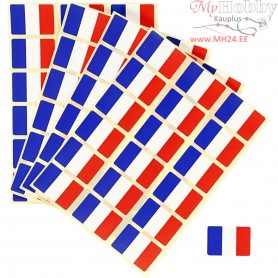 Flag Stickers, size 15x22 mm, France, 72pcs