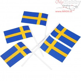 Cake Flags, size 30x50 mm, Sweden, 100pcs