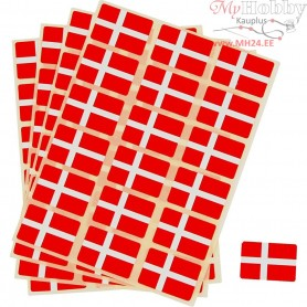 Flag Stickers, size 15x22 mm, Denmark, 72pcs
