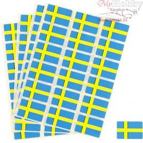 Flag Stickers, size 15x22 mm, Sweden, 72pcs
