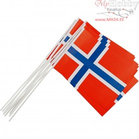 Waving Flags, size 20x25 cm, Norway, 10pcs