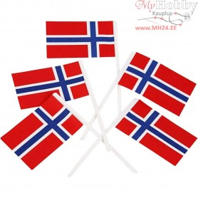 Cake Flags, size 30x50 mm, Norway, 100pcs