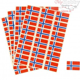 Flag Stickers, size 15x22 mm, Norway, 72pcs
