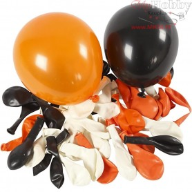 Balloons, white, orange, black, D: 23-26 cm, Round, 100mixed