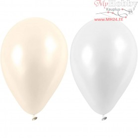 Balloons, white, mother-of-pearl, D: 23 cm, Round, 10mixed