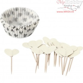 Cupcake cases and picks, off-white, D: 5 cm, H: 3 cm, 24sets, 40 g