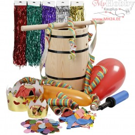 Carnival Barrel with Accessories, H: 38 cm, pine, small, 1set