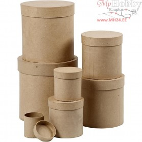 Boxes, round, D: 7+9+12+14,5+17+19,5+22 cm, H: 7,5+10,2+12,7+15,2+17,7+20,2+22,7 cm, brown, 7pcs