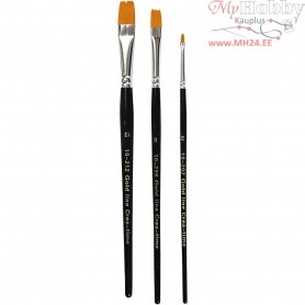 Gold Line Brushes, size 2+8+12 , W: 3+9+12 mm, flat, 3mixed