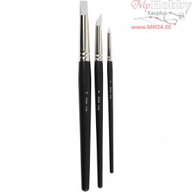 Artist Line Brush, size 2+6+10 mm, Rubber Brush, 3mixed