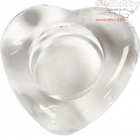 Tea Light holder, heart, size 8x8 cm, thickness 25 mm, 10pcs, hole size 40 mm