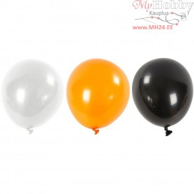 Balloons, white, orange, black, D: 23-26 cm, Round, 10mixed