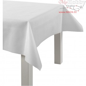 Imitation Fabric Table Cloth, white, W: 125 cm,  70 g/m2, 10m