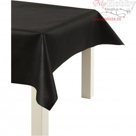 Imitation Fabric Table Cloth, black, W: 125 cm,  70 g/m2, 10m