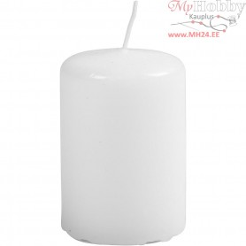 Candles, white, D: 40 mm, H: 60 mm, 12pcs