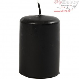 Candles, black, D: 40 mm, H: 60 mm, 12pcs
