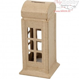 Money Box, telephone box, H: 15 cm, W: 6,5 cm, 1pc