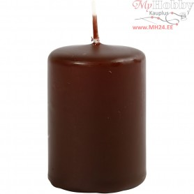 Candles, brown, D: 40 mm, H: 60 mm, 12pcs