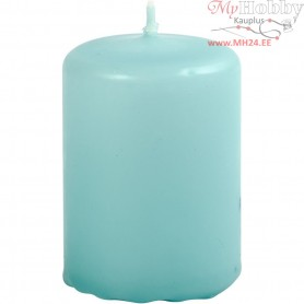 Candles, turquoise, D: 40 mm, H: 60 mm, 12pcs