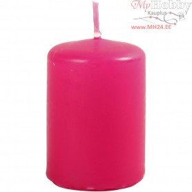 Candles, pink, D: 40 mm, H: 60 mm, 12pcs