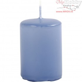 Candles, light blue, D: 40 mm, H: 60 mm, 12pcs