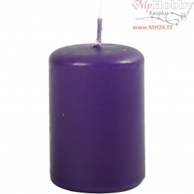 Candles, dark lilac, D: 40 mm, H: 60 mm, 12pcs