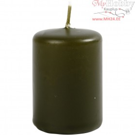 Candles, dark green, D: 40 mm, H: 60 mm, 12pcs