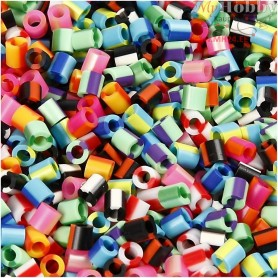 Fuse Beads, size 5x5 mm, hole size 2,5 mm, stripe, medium, 10000mixed