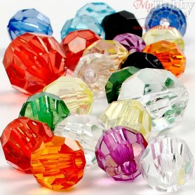 Faceted Bead Mix, size 10-12-16 mm, hole size 1-2,5 mm, 75 g, 125ml