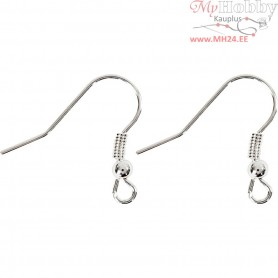 French Ear Wires, L: 18 mm, silver-plated, 10pcs