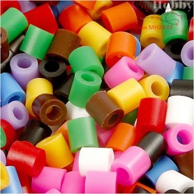 Fuse Beads, size 5x5 mm, hole size 2,5 mm, standard colours, medium, 20000mixed