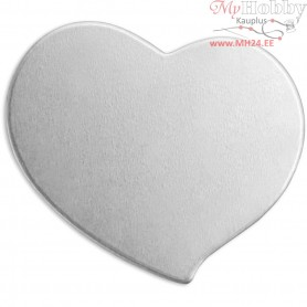 Metal Tag, size 20x20 mm, thickness 1,3 mm, aluminum, Heart, 15pcs