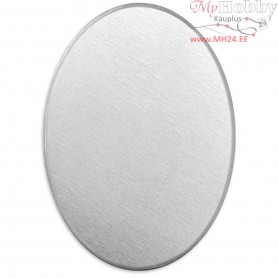 Metal Tag, size 18x13 mm, thickness 1,3 mm, aluminum, Oval, 15pcs