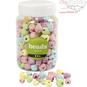 Wooden Beads, D: 10-15 mm, hole size 3-5 mm, 175 g, 400ml, 175 g
