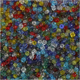 Rocaille Seed Bead Mix, size 6/0 , D: 4 mm, asstd colours, multi transparent, 1000g, hole size 0,9-1,2 mm