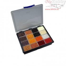 Rocaille Seed Beads, size 6/0+8/0 , D: 3+4 mm, golden harmony, Storage box not included, 16x100g, hole size 0,6-1,0+0,9-1,2 mm