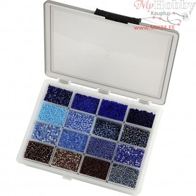 Rocaille Seed Beads, size 6/0+8/0 , D: 3+4 mm, blue/purple harmony, Storage box included, 16x100g, hole size 0,6-1,0+0,9-1,2 mm