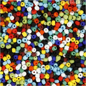 Rocaille Seed Bead Mix, size 6/0 , D: 4 mm, asstd colours, multi matte, 500g, hole size 0,9-1,2 mm