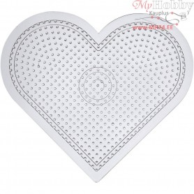 Peg Board, H: 15 cm, transparent, Large heart, 10pcs