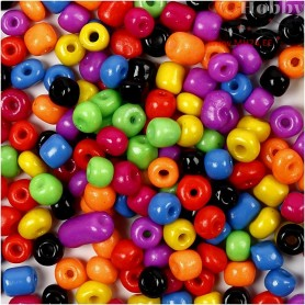 Rocaille Seed Bead Mix, size 4/0 , D: 5 mm, bold colours, 500g, hole size 1,2 mm