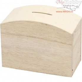 Money Box, size 12,5x6,5x10 cm, empress wood, 1pc