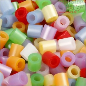 Fuse Beads, size 5x5 mm, hole size 2,5 mm, mother of pearl colours, medium, 20000mixed