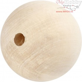 Wooden Bead, D: 80 mm, hole size 12 mm, grass wood, 1pc
