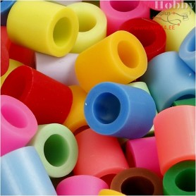 Fuse Beads, size 10x10 mm, hole size 5,5 mm, asstd colours, jumbo, 2450mixed